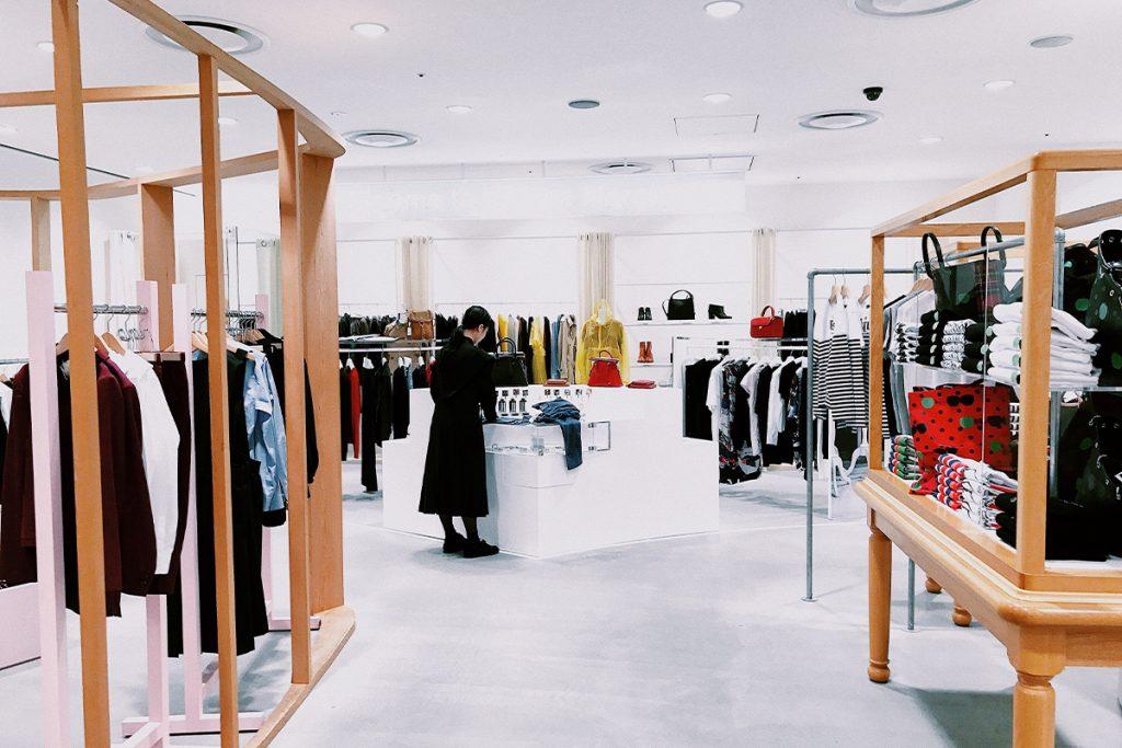 minimalist interior of an apparel retail store