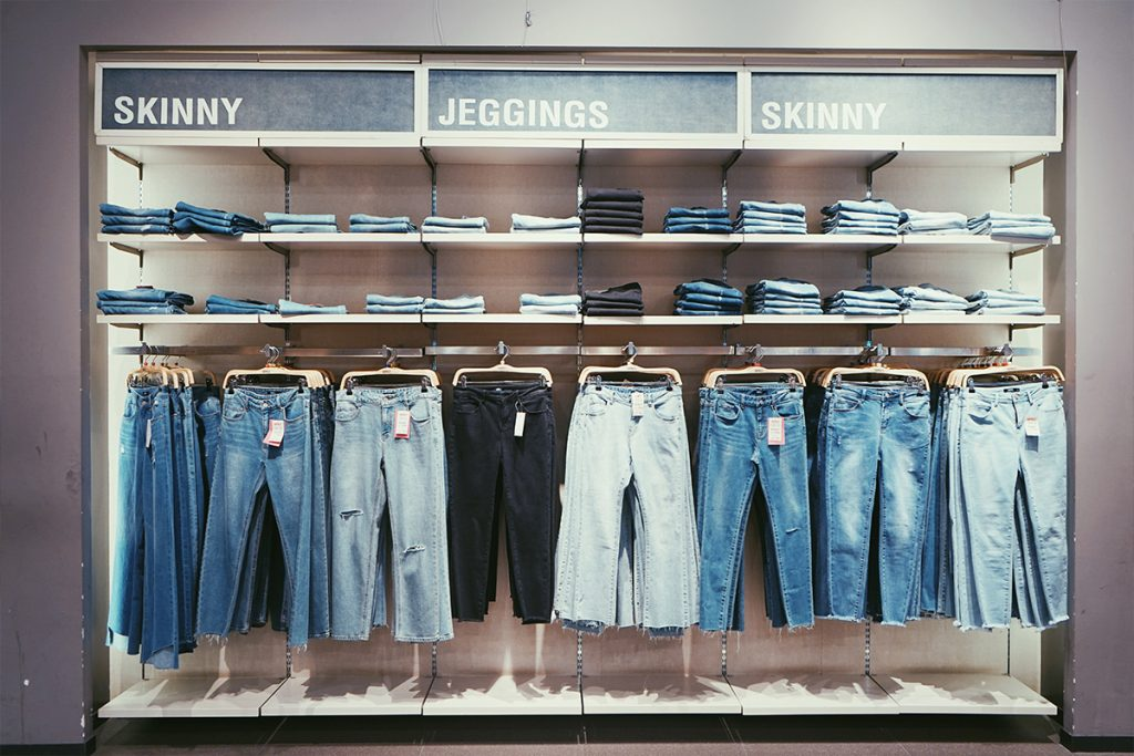 pop up store selling denim jeans
